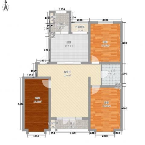 星辰花园3室1厅1卫1厨128.00㎡户型图