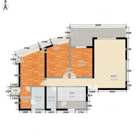 越秀・星汇云锦3室1厅2卫1厨194.00㎡户型图