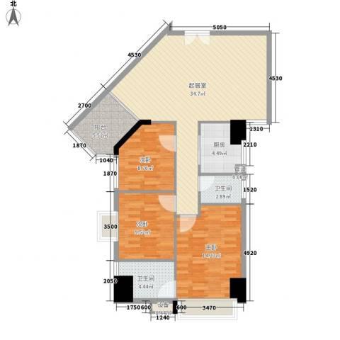 御峰国际3室0厅2卫1厨121.00㎡户型图