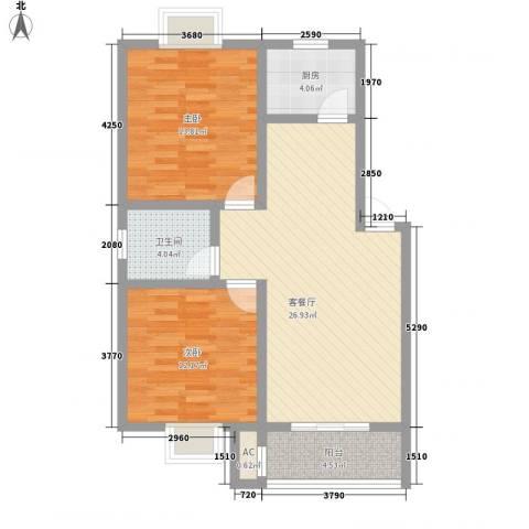 阳禾洪福秀景2室1厅1卫1厨85.00㎡户型图