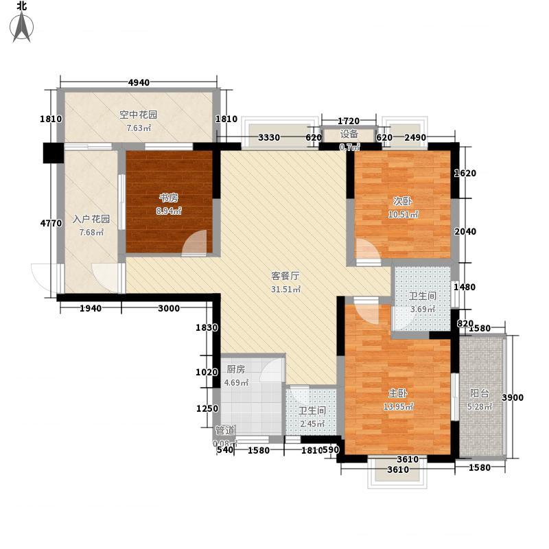 东辰瑞景户型图C2型 3室2厅2卫1厨