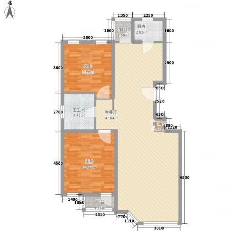四季香山别墅2室1厅1卫1厨110.00㎡户型图