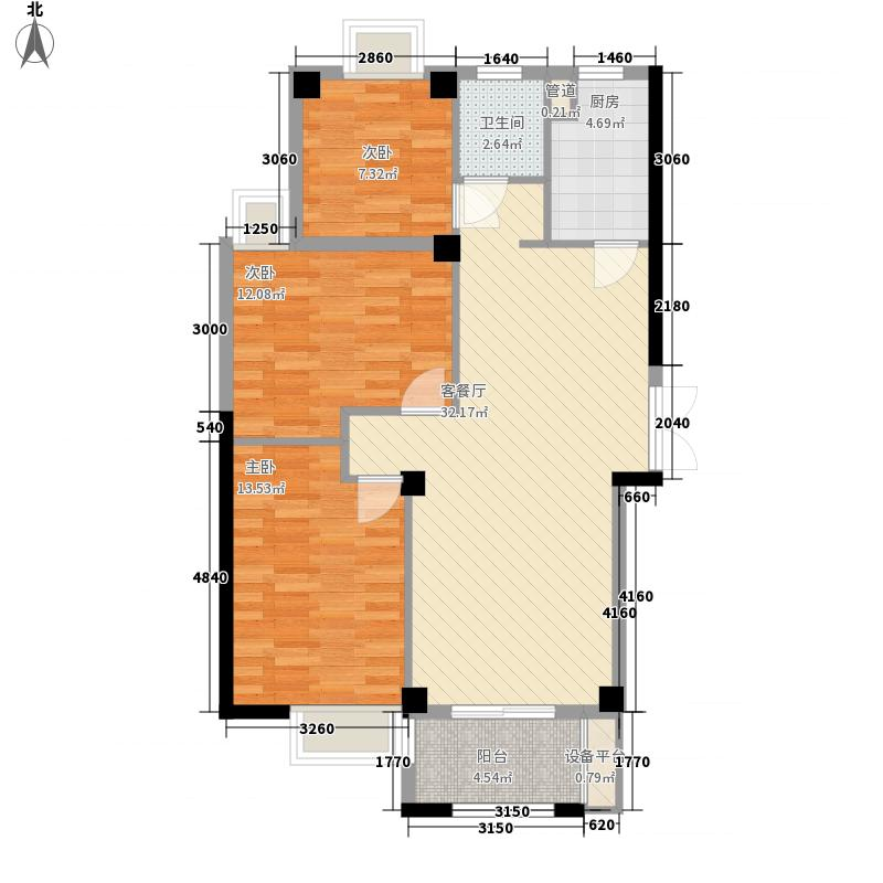 华阳九珑湾110.00㎡华阳九珑湾户型图E户型3室2厅1卫1厨户型3室2厅1卫1厨
