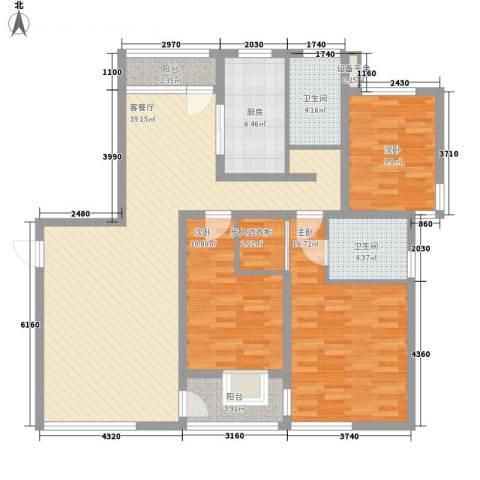 大唐盛世花园3室1厅2卫1厨144.00㎡户型图