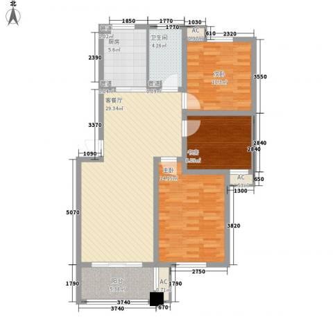 扬子家园3室1厅1卫1厨114.00㎡户型图