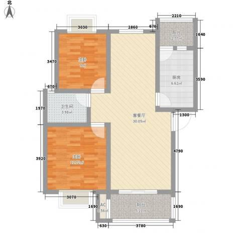 阳禾洪福秀景2室1厅1卫1厨70.86㎡户型图