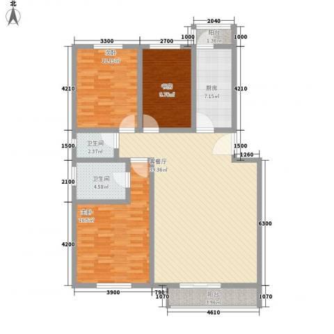 泰和尚都3室1厅2卫1厨128.00㎡户型图