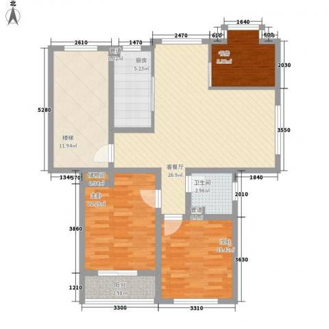正棋山1号3室1厅1卫1厨88.00㎡户型图
