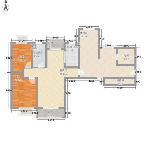 正棋山1号2室1厅1卫1厨94.75㎡户型图
