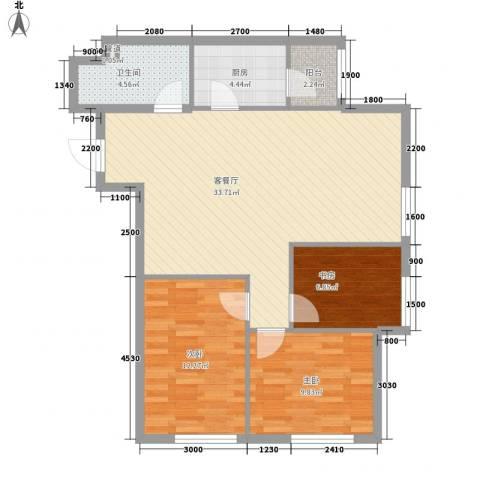 亿合城3室1厅1卫1厨110.00㎡户型图