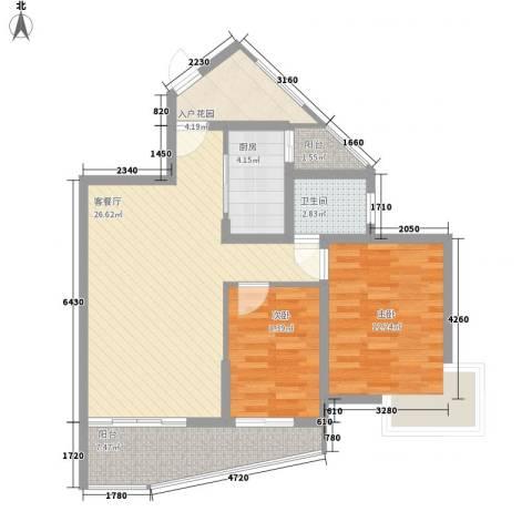 九龙湾2室1厅1卫1厨67.43㎡户型图