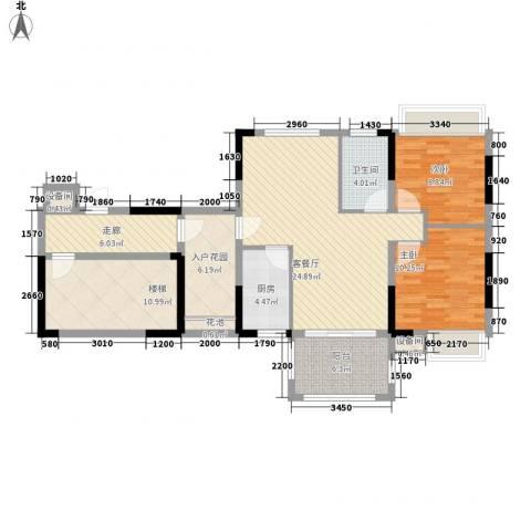 秋谷康城2室1厅1卫1厨83.47㎡户型图