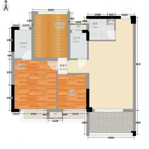时代名轩2室1厅2卫1厨91.00㎡户型图