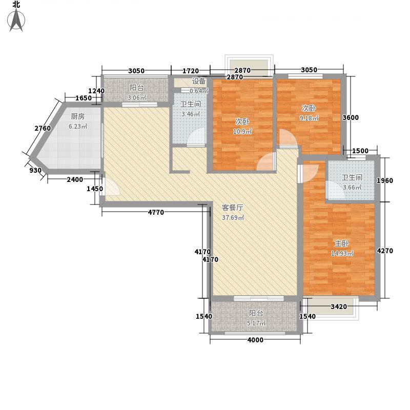 禹洲中央海岸135.00㎡4#楼A06户型3室2厅2卫1厨
