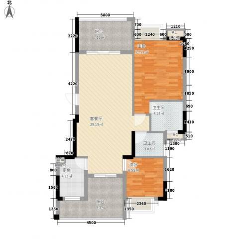 时代名轩2室1厅2卫1厨93.00㎡户型图