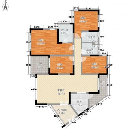 新世纪丽江豪园五期牡丹阁4室1厅3卫1厨194.00㎡户型图