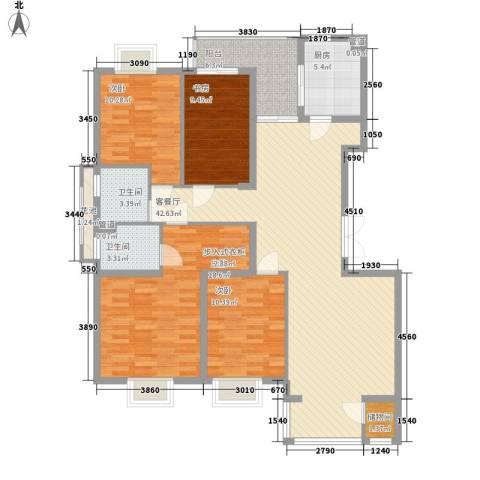 紫薇臻品4室1厅2卫1厨160.00㎡户型图