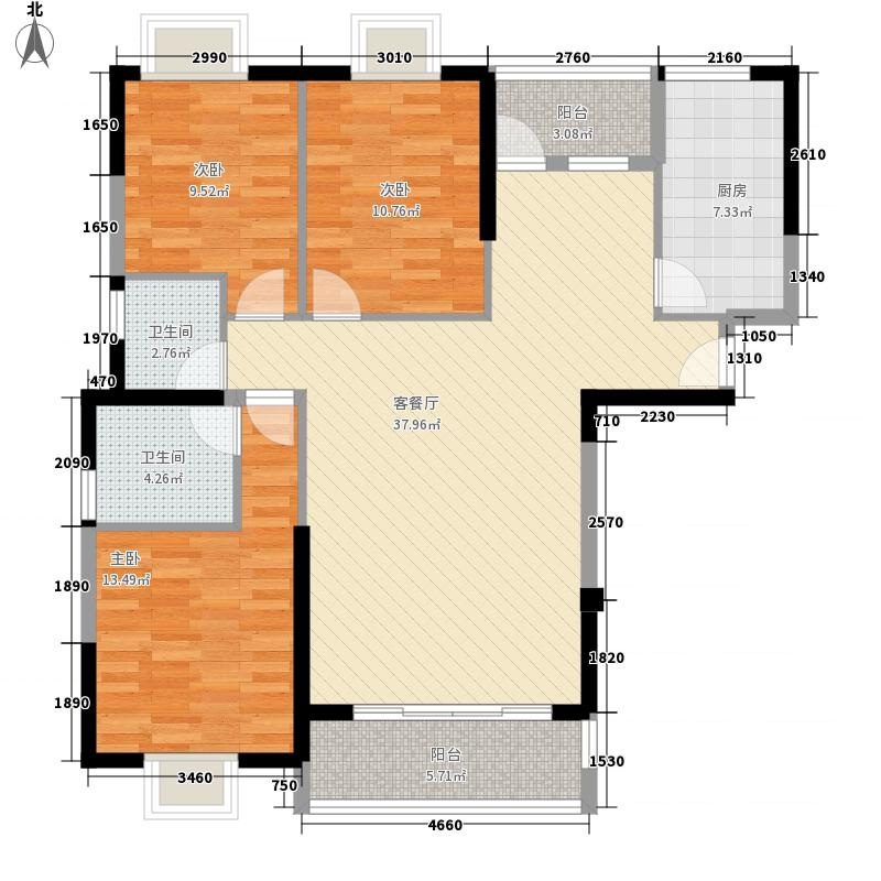 绿苑新城126.40㎡1、7#楼E1户型3室2厅2卫1厨