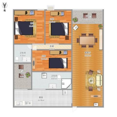 盈翠华苑3室1厅2卫1厨134.00㎡户型图