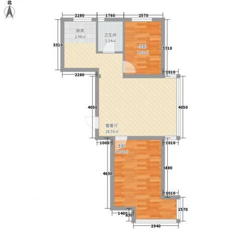 翰逸华园二期2室1厅1卫0厨80.00㎡户型图