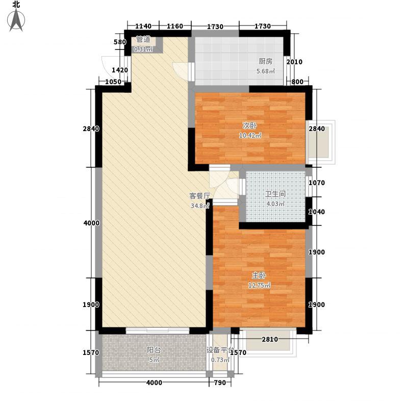 顺驰城11.73㎡17#楼F1户型2室2厅1卫