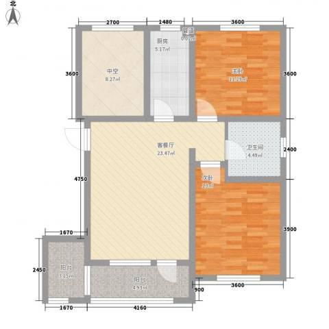 首创光和城2室1厅1卫1厨107.00㎡户型图