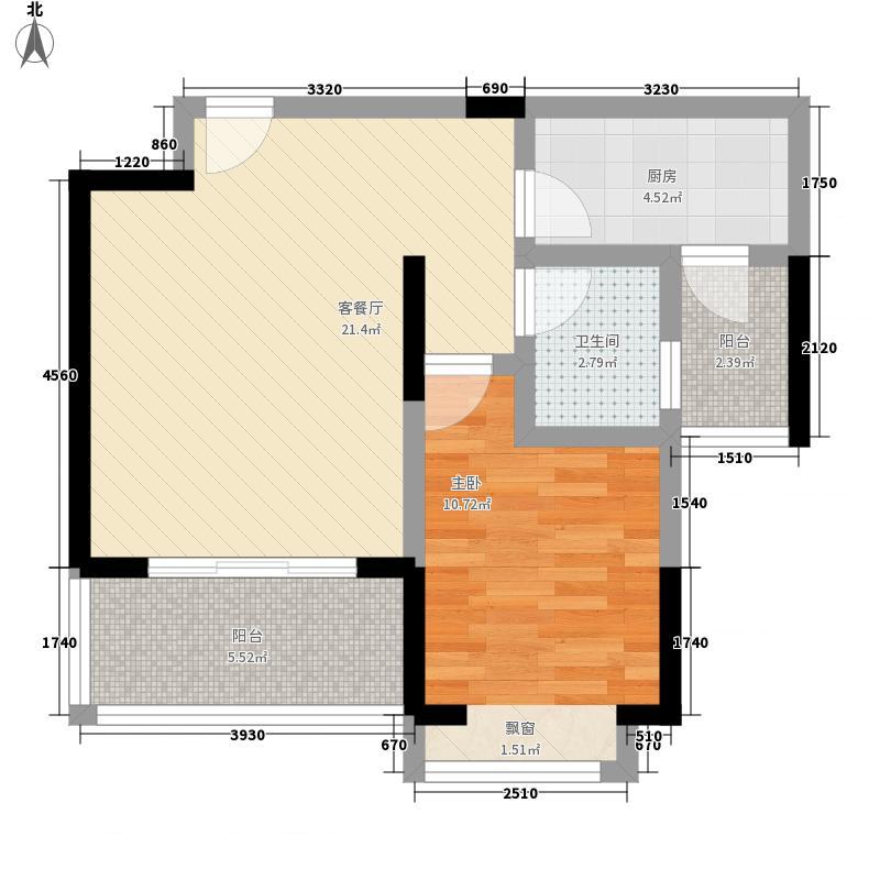 半山枫景5.00㎡C0型户型1室2厅1卫1厨