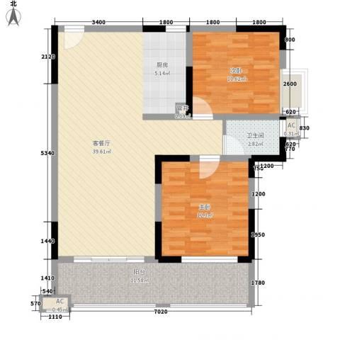 袭汇旺角名门2室1厅1卫0厨77.78㎡户型图