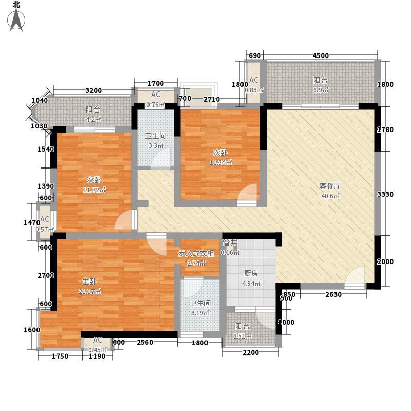 袭汇旺角名门11.87㎡C1户型3室2厅1卫1厨