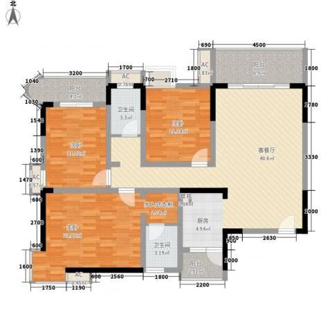 袭汇旺角名门3室1厅2卫0厨107.69㎡户型图