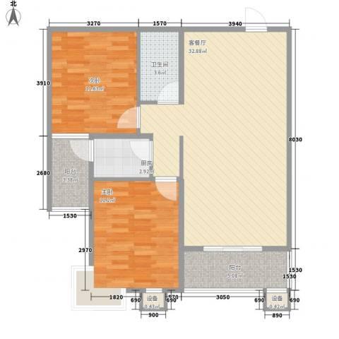 江南鸿郡2室1厅1卫1厨83.00㎡户型图