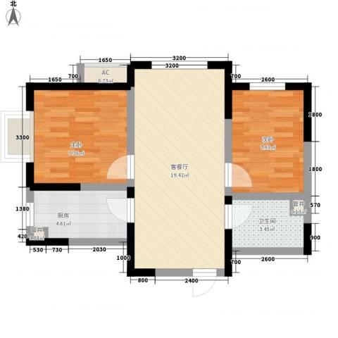 金辉・天鹅湾2室1厅1卫1厨67.00㎡户型图