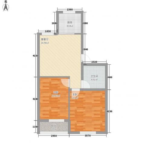 正棋山1号2室1厅1卫1厨69.00㎡户型图