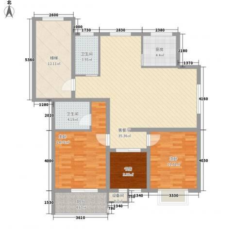 正棋山1号3室1厅2卫1厨97.78㎡户型图