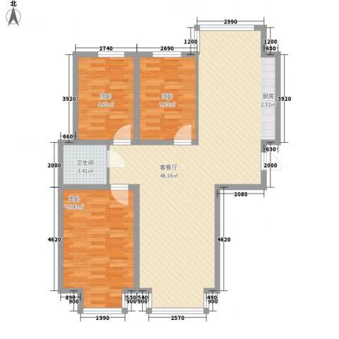翰逸华园二期3室1厅1卫0厨117.00㎡户型图