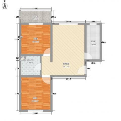 新升・琦锋苑2室0厅1卫1厨82.00㎡户型图