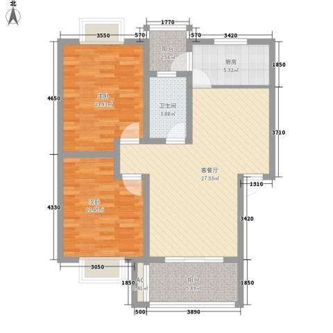 阳禾洪福秀景2室1厅1卫1厨88.00㎡户型图