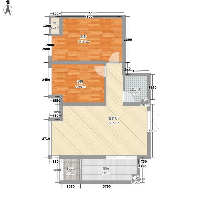 华远君城88.00㎡五期15#楼C3面积8800m户型