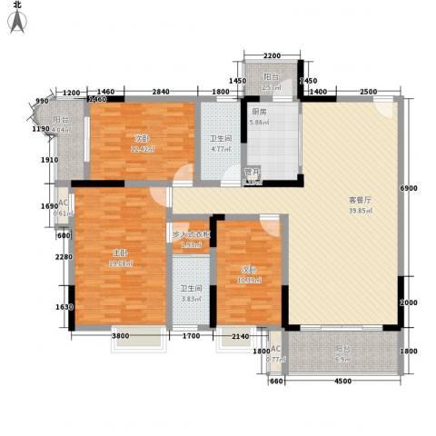 袭汇旺角名门3室1厅2卫1厨113.21㎡户型图