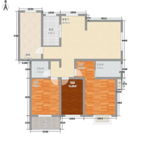 正棋山1号3室1厅2卫1厨109.82㎡户型图