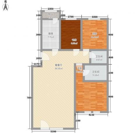 泰和尚都3室1厅2卫1厨148.00㎡户型图