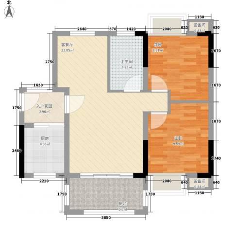 秋谷康城2室1厅1卫1厨73.00㎡户型图