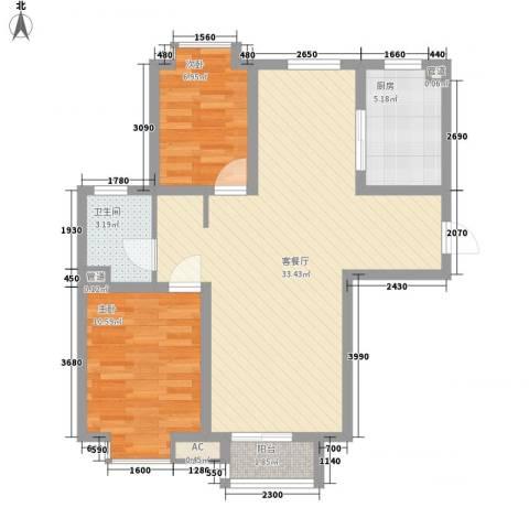 荣盛・幸福大道2室1厅1卫1厨88.00㎡户型图