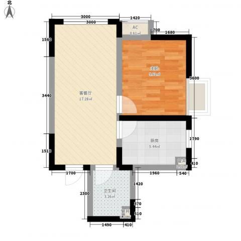 金辉・天鹅湾1室1厅1卫1厨59.00㎡户型图