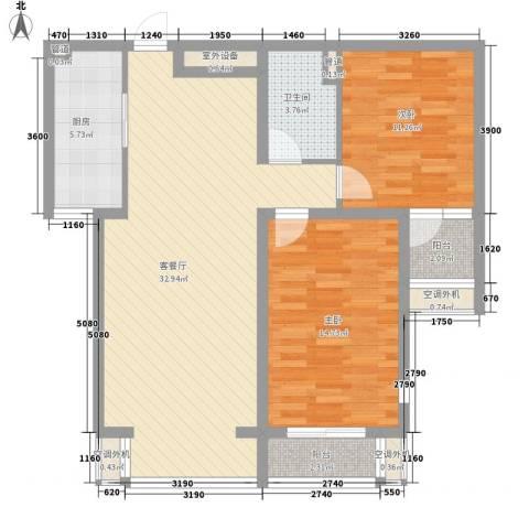 中基礼域2室1厅1卫1厨109.00㎡户型图