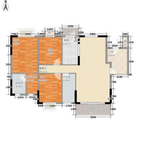 石竹山水园四期3室1厅2卫1厨127.00㎡户型图