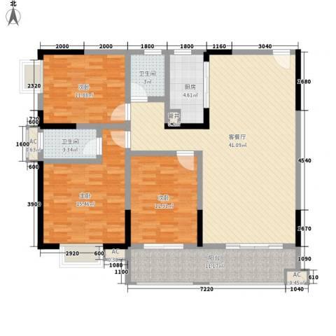 袭汇旺角名门3室1厅2卫1厨135.00㎡户型图
