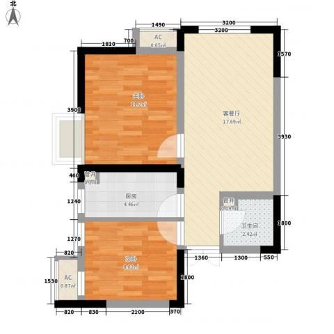 金辉・天鹅湾2室1厅1卫1厨68.00㎡户型图