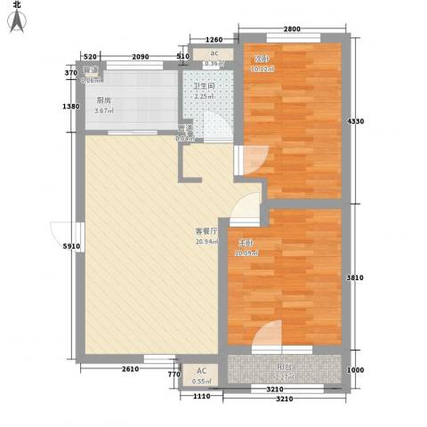 首创光和城2室1厅1卫1厨74.00㎡户型图