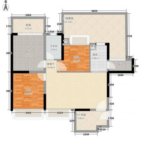 恒大御景湾2室1厅1卫1厨100.64㎡户型图